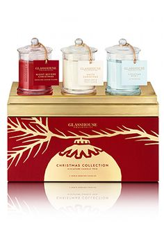Glasshouse Christmas Collection Trio Candle Gift Set