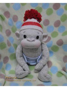 "Fretta's Sock Monkey. Hand stitched 12"" / 30.5 cm tall Soft Sculptured Baby…"