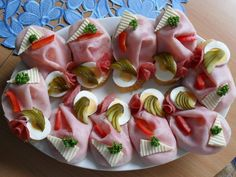 Obložené chlebíčky We make these every New Year's Eve! Yummy!!! You choose what you put on them!