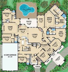 House Plan 5445-00183 - Luxury Plan: 7,670 Square Feet, 5 Bedrooms, 6.5…