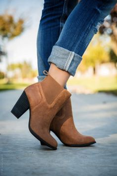 Rolled Up Jeans with Ankle Boots
