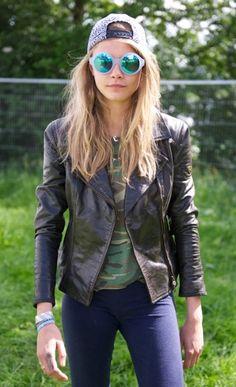 Cara Delevigne, Matchless leather jacket, sunglasses by Le Specs. Glastonbury 2013
