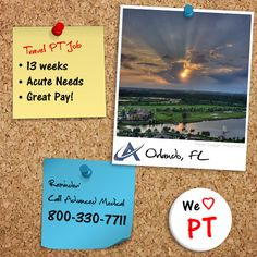 Physical therapy travel job in sunny Orlando, Florida. Combine work and pleasure on this 13 week travel assignment at an acute needs facility in Orlando. Contact Advanced Medical, a physical therapy staffing company, at (800) 330-771 or visit http://www.advanced-medical.net