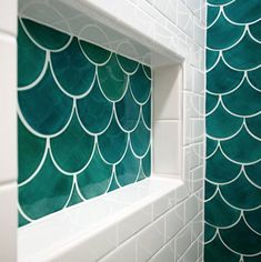 Tour through a variety of projects for clients of all walks of life who have embraced our Moroccan fish scale tile. Discover your next creative design project! Bathroom Niche, Shower Niche, Bathroom Colors, Master Bathroom, Bathroom Ideas, Bathroom Showers, Shower Tiles, Turquoise Bathroom, Chic Bathrooms