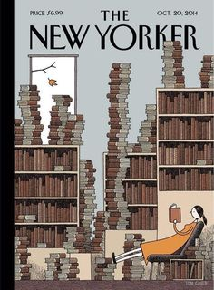 """Tom Gauld's """"Fall Library"""" New cover The New Yorker, artwork Tom Gauld read here more about this cover. Art Editor Françoise Mouly (read here about her book 'Blown Covers' New Yorker Covers You Were Never Meant to See) Creative director Wyatt Mitchell The New Yorker, New Yorker Covers, I Love Books, Books To Read, Reading Books, Capas New Yorker, Graphic Design Magazine, Magazine Design, Plakat Design"""