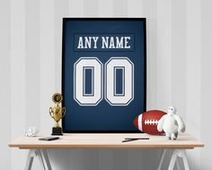 Dallas Cowboys Jersey Poster - Print Personalized Select ANY Name & ANY Number