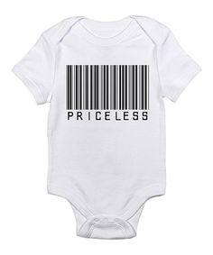 White 'Priceless' Barcode Bodysuit - Infant