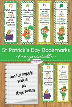 I love encouraging my kids to read - and so I'm sharing these free St. Patrick's Day Bookmarks for them and for you. They might want to pick up a book! St Patricks Day Crafts For Kids, St Patrick's Day Crafts, Easy Crafts For Kids, Toddler Crafts, Holiday Crafts, Kid Crafts, Holiday Ideas, Holidays With Toddlers, Day Book