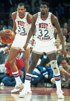 Abdul-Jabbar and Magic were teammates at the 1983 NBA All-Star Game in Los Angeles. Basketball Pictures, Love And Basketball, Basketball Legends, Sports Basketball, Basketball Jersey, Basketball Players, Jordan Basketball, Basketball Tickets, Custom Basketball
