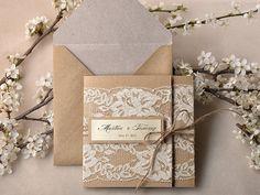 Recyclage de papier, faire-part de mariage dentelle, Invitation de mariage rustique poche plier Shabby Chic faire-part, eco Invitation de ma...