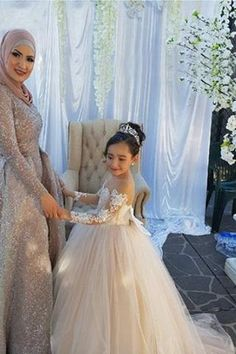 df396b5f7 Ball Gown Round Neck Light Champagne Tulle Bowknot Flower Girl Dress with  Appliques PM770 Cute Dresses