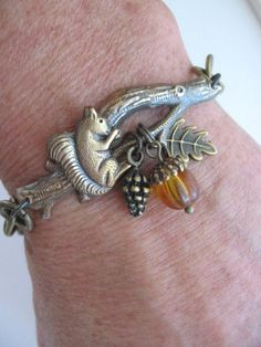 Squirrel Bracelet Twig Bracelet Squirrel Jewelry by CharmedValley, $24.00