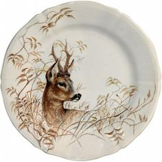 Made by Gien. 840769045092 Part: Item: Gien China Sologne dessert plate Deer The Gien Sologne dinnerware collection features the animals and birds of Sologne. Sologne is in China Painting, Ceramic Painting, Porcelain Ceramics, China Porcelain, Japanese Porcelain, Porcelain Jewelry, Gien France, Animal Painter, Pattern Texture
