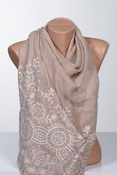BEIGE and White big scarf or Shawl. Scarf wrap. by scarfstore2012