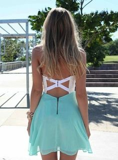 dress, short dress, teal and white dress, open backed dress | Wheretoget.it