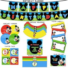 Mickey Mouse Clubhouse Birthday Printable Package arielle-s-birthday-party Fiesta Mickey Mouse, Mickey Mouse Clubhouse Party, Mickey Mouse Clubhouse Birthday, Mickey Mouse Parties, Mickey Party, Mickey Mouse Birthday, 1st Birthday Parties, Birthday Banners, Farm Birthday