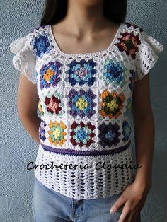 Crochet Baby Cardigan Free Pattern, Crochet Lace Scarf, Crochet Patterns Free Women, Baby Girl Crochet Blanket, Crochet Shirt, Knit Crochet, Crochet Short Sleeve Tops, Crochet Waistcoat, Crochet Woman