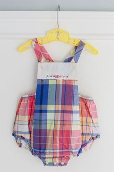 https://www.etsy.com/shop/Petitpoesy Vintage Baby Girl Romper Bubble, Ralph Lauren, New with Tags, Pink and Purple Plaid, Embroidered flower detail, size 9 month