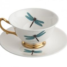 Dragonfly Teacup and Saucer