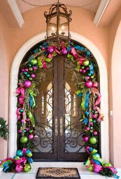 lime green, hot pink, sky blue, fuchsia ornaments door garland