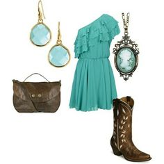 Teal dress and brown cowgirl boots