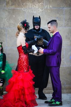 Can we talk about how Batman is reading from a comic book for this obviously amazing wedding?