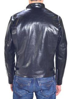 641HH - Classic Schott Racer Black Leather Motorcycle Jacket in Horsehide