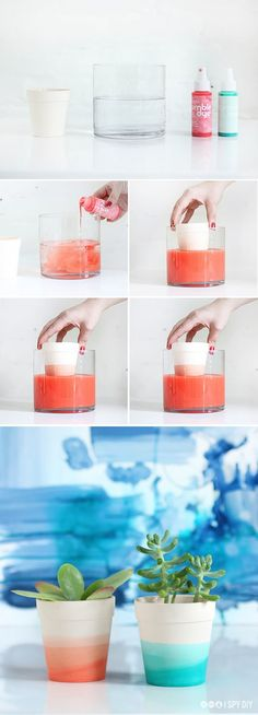 DIY: Dip Dye Flower Pots.