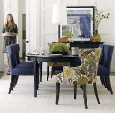 Love all the indigo on this link!  Shown is a dining room with the Crate and Barrel Sasha side chair in a great indigo blue color.  Love the floral fabric on the arm chairs on the ends.