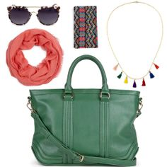 Weekend warrior - love the green tote bag and colorful necklace