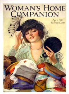 Woman's Home Companion cover April 1919.  Edwardian millinery.