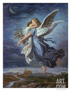 Global Gallery 'The Guardian Angel' by Wilhelm Von Kaulbach Painting Print on Wrapped Canvas Size: Funeral Thank You Cards, I Believe In Angels, My Guardian Angel, Angels Among Us, Angel Pictures, Free Pictures, Angels In Heaven, Stock Art, Angel Art