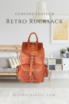 Our Genuine Leather Retro Rucksack is designed with high-end goat leather material and features a fashionable and durable frame, It will become your essential companion in your day-to-day life Leather Bags Handmade, Handmade Bags, How To Make Leather, Small Leather Bag, Leather Material, Natural Leather, Vintage Leather, Goat, Leather Backpack