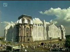 Wrapped Reichstag - quickmotion - Christo and Jeanne-Claude: absurd idee: in 1977 begonnnen in 1995 uitgevoerd. Het inpakken is slechts een onderdeel van het kunstwerk. Schetsen, gesprekken, media aandacht etc. zijn alles bijelkaar het kunstwerk. Nouveau realisme: humor, ironie.