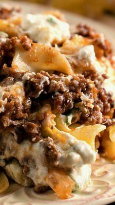 Hamburger Cheese Bake Recipe - possible low carb without the noodles.