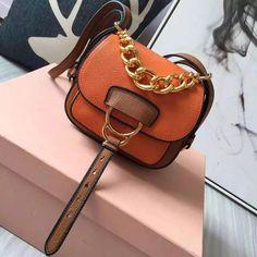 b69664a37149 Miu Miu 5BD019 Small Calf Leather Dahlia Shoulder Bag Orange Brown 2016  Orange Bag