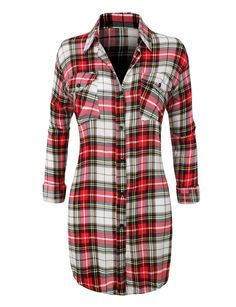 This casual plaid pull-on button down shirt with roll up[ sleeves is seasonless. You can decide how low you want to go on the neckline and and the button tabs secure the sleeves when rolled. This plai