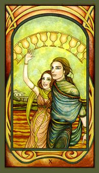 June 10 Tarot Card: Ten of Cups (Fenestra deck) Your heart is shining, relationships are harmonious, and joy and happiness are encircling you now. Take this time to enjoy life, to love, and to appreciate all the universe has brought you