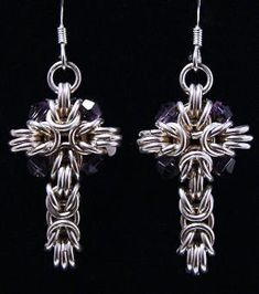 Lovely Sterling Silver Chainmaille Earrings by josefa