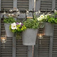 Grey painted fence made out of reclaimed shutters