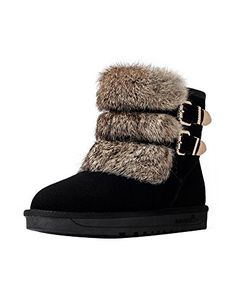 Ashlen Womens Warm Faux Angora Rabbit Wool Short Winter Snow Boot with 2 Buckles >>> Details can be found by clicking on the image.