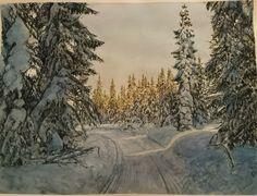 Gyllent skjær i vinterskogen. Gerd Elgshøen. Akvarell. Watercolor.
