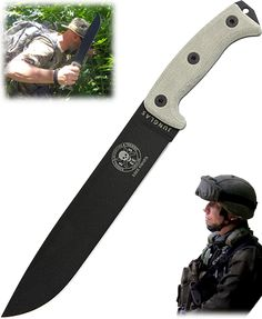 """This is my prefered choice for a survival knife.  It is comfortable in the hand, and very effective in real life. I have chopped through a 10"""" tree trunk with it."""