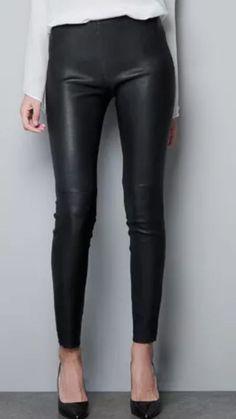 NEW ZARA 100% Lamb M Leather Skinny Pants Leggins Black Jeans Vince    eBay