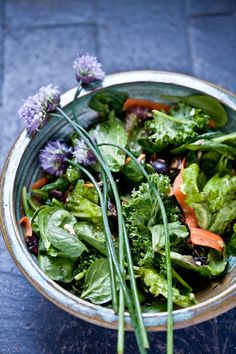 Mixed Greens Salad with chive blossoms (I love edible flowers!!)