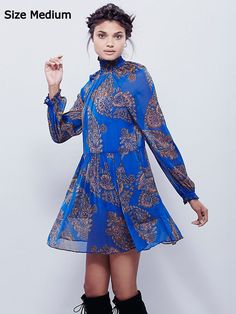 NEW Anthropologie Cobalt Blue Chiffon Dress by Free People Paisley Print Mini M #Anthropologie #Tunic #Casual
