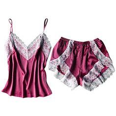 0625cd8b297c4 Ensemble Pyjama Femme Sexy Short Satin Lingerie Débardeur Dentelle Taille  #jupes #jupesonlineshop #jupesnähen