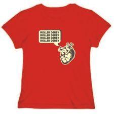 T-Shirt Womens Red Roller Derby Heart