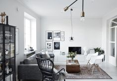 Relax and retreat into a cool, calm Scandinavian oasis with a unique style that embraces minimalism but challenges serenity with flair Small Apartment Decorating, Apartment Interior Design, Home Interior, Scandinavian Apartment, Scandinavian Home, Living Room Furniture, Living Room Decor, Living Spaces, Decoration Inspiration