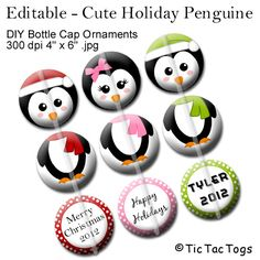 Editable Holiday Penguin Ornament Bottle Cap Collage Digital Images